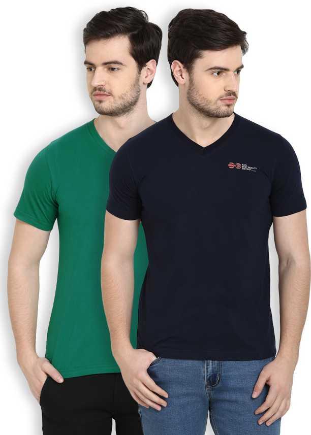 752a1a777 Cotton County Premium Printed Men V-neck Dark Blue