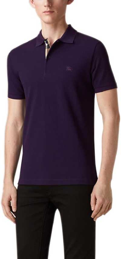 ef4503716 Burberry Solid Men s Polo Neck Purple T-Shirt - Buy Purple Burberry Solid Men s  Polo Neck Purple T-Shirt Online at Best Prices in India