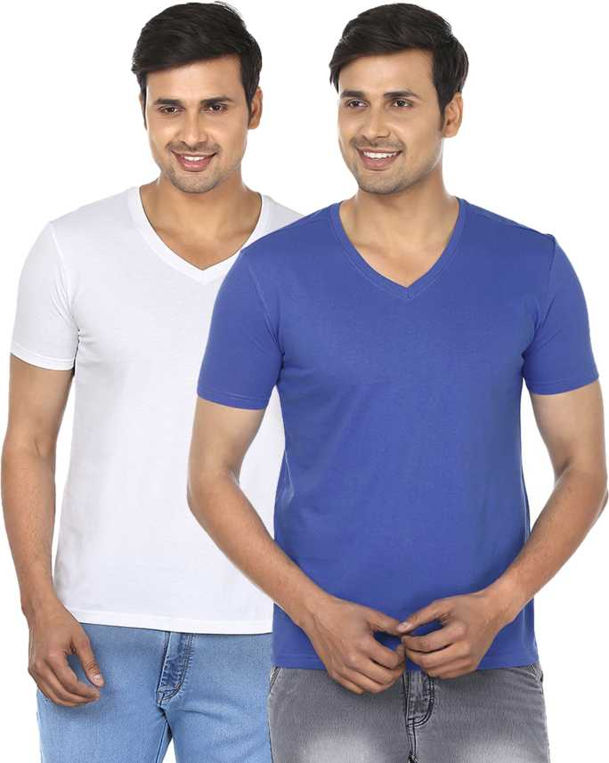 37f684b2f FM Fashionmania Solid Men V-neck Blue, White T-Shirt - Buy Royal ...