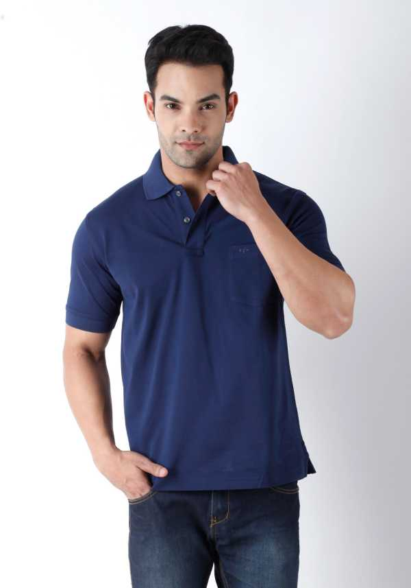 f868885e ColorPlus Solid Men's Polo Neck Blue T-Shirt - Buy Navy Blue ColorPlus  Solid Men's Polo Neck Blue T-Shirt Online at Best Prices in India |  Flipkart.com