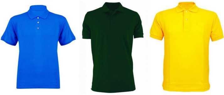 Men Polo Neck Light Blue Yellow