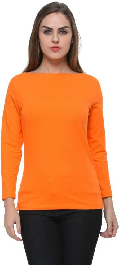 1980a6537c62 Frenchtrendz Casual Full Sleeve Solid Women's Orange Top - Buy Frenchtrendz  Casual Full Sleeve Solid Women's Orange Top Online at Best Prices in India  ...