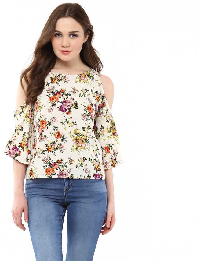 3445384568 Harpa Casual Cold Shoulder Floral Print Women White Top - Buy White Harpa  Casual Cold Shoulder Floral Print Women White Top Online at Best Prices in  India ...