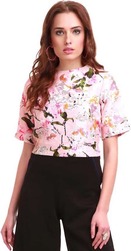 839d719a9c6 Sassafras Casual Short Sleeve Floral Print Women Pink Top - Buy Pink  Sassafras Casual Short Sleeve Floral Print Women Pink Top Online at Best  Prices in ...