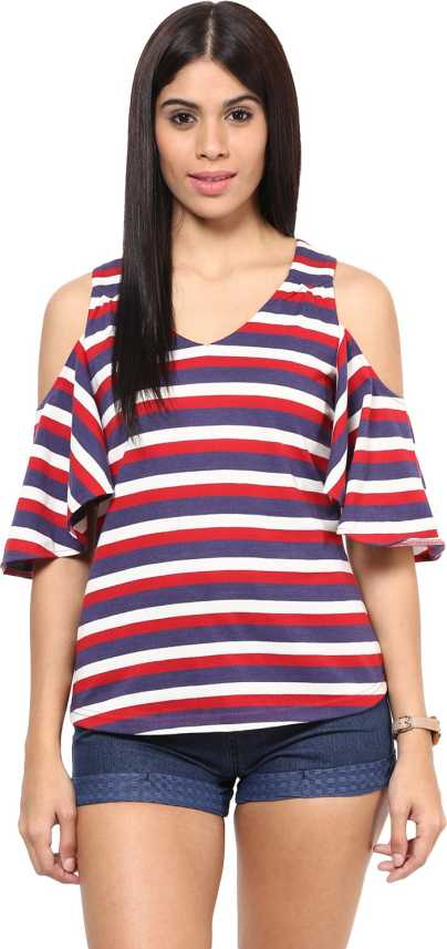 b2320e096246a Hypernation Casual Cold Shoulder Striped Women s Multicolor Top ...