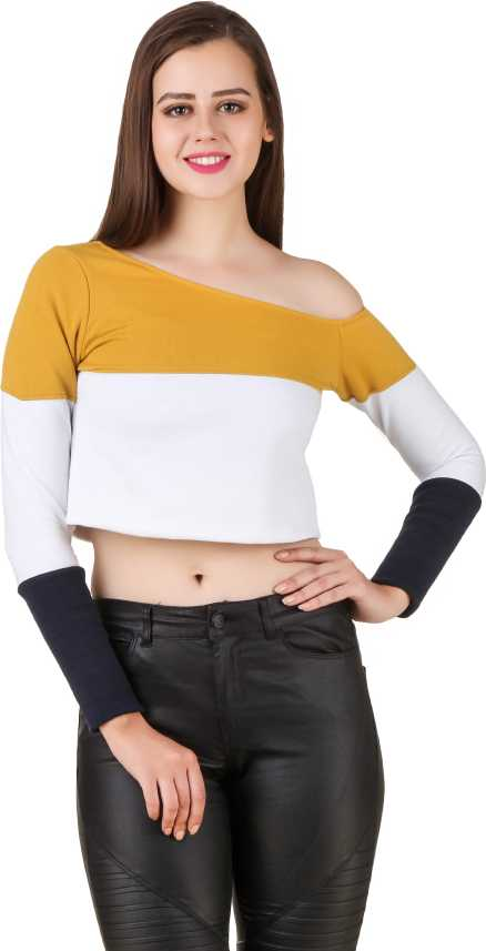 a55106b7d5d7c0 ... Women's Yellow, White, Blue Top - Buy Yellow, White, Blue Texco Casual  Full Sleeve Solid Women's Yellow, White, Blue Top Online at Best Prices in  India ...