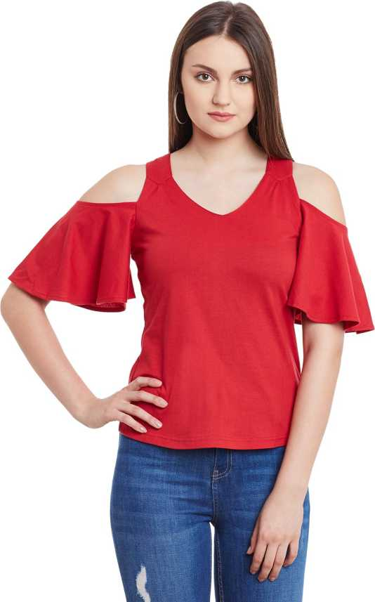c7d21c33c139a Hypernation Casual Butterfly Sleeve Solid Women s Red Top - Buy Red  Hypernation Casual Butterfly Sleeve Solid Women s Red Top Online at Best  Prices in India ...