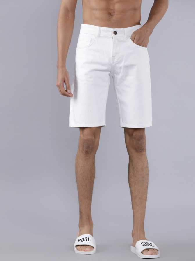 HIGHLANDERSolid Men White Denim Shorts