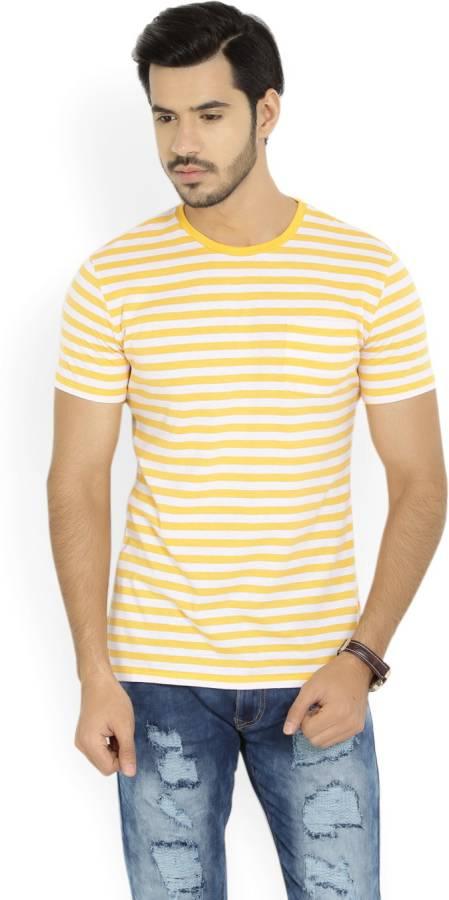 Striped Men Round Neck White, Yellow T-Shirt