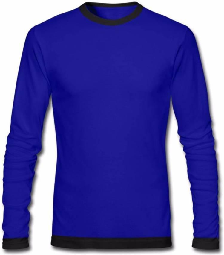Color Block Men Round Neck Blue T-Shirt