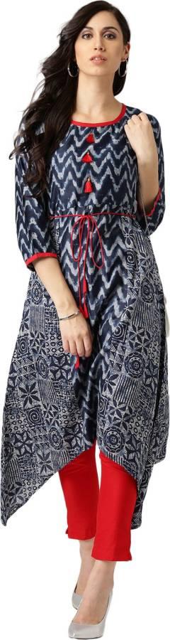 Women Abstract Cotton Blend A-line Kurta