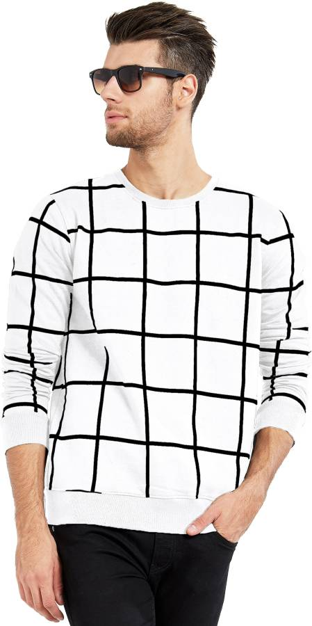 Checkered Men Round Neck White, Black T-Shirt Price in India