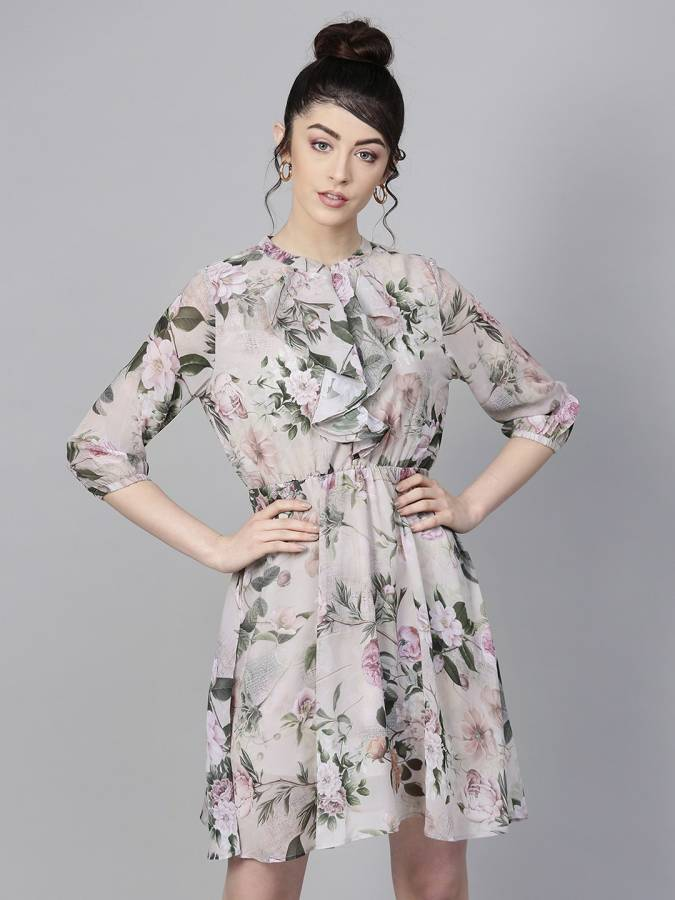 Women Fit and Flare Green Dress Price in India