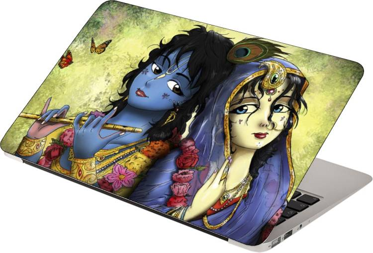 Finest Printed on Imported Vinyl, Premium Quality, HD, UV Printed, Bubble Free, Scratchproof, Washable, Easy to Install Laptop Skin/Sticker/Vinyl/Cover for 13.1, 13.3, 14.1, 14.4, 15.1, 15.6 inches (Cute Radha Krishna) Vinyl Laptop Decal 15.6
