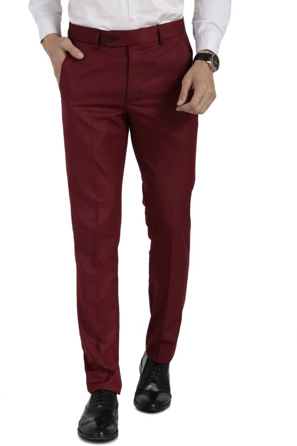 Slim Fit Men Maroon Polycotton Trousers