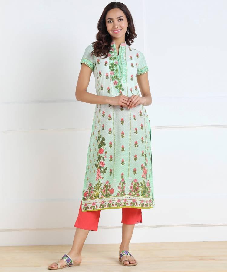 Women Printed Cotton Blend Straight Kurta Price in India