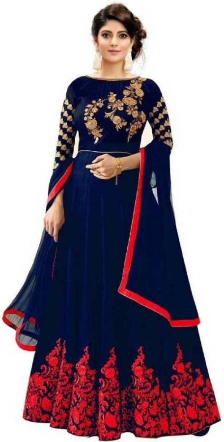 Satin Embroidered Salwar Suit Material Price in India
