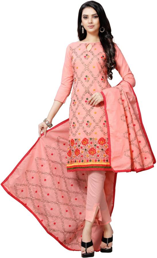Cotton Linen Blend Embroidered, Solid Salwar Suit Material Price in India