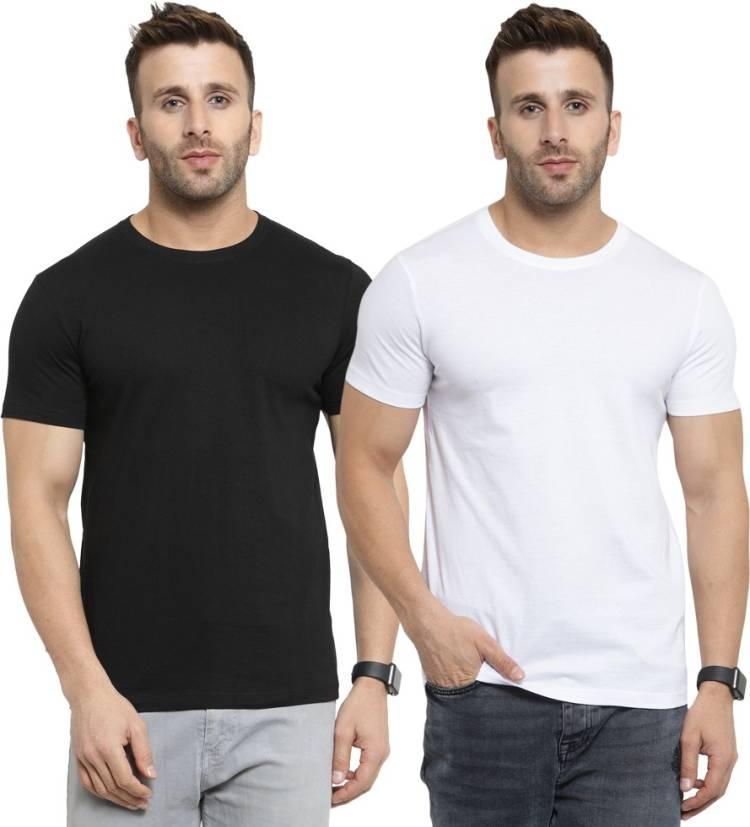 Solid Men Round Neck Black, White T-Shirt Price in India