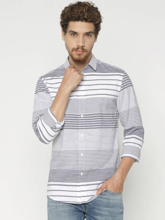 Men Striped Casual Button Down Shirt