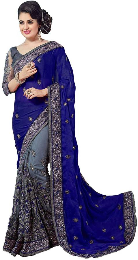 Embroidered Fashion Poly Georgette Saree