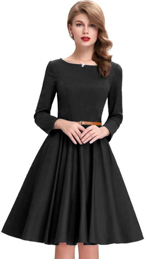Women Fit and Flare Black Dress Price in India
