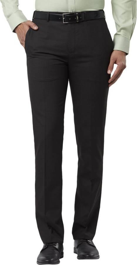 Regular Fit Men Brown Polyester Blend Trousers