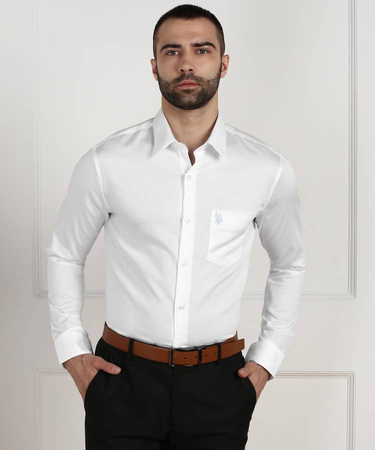 Men Tailored Fit Solid Button Down Collar Formal Shirt