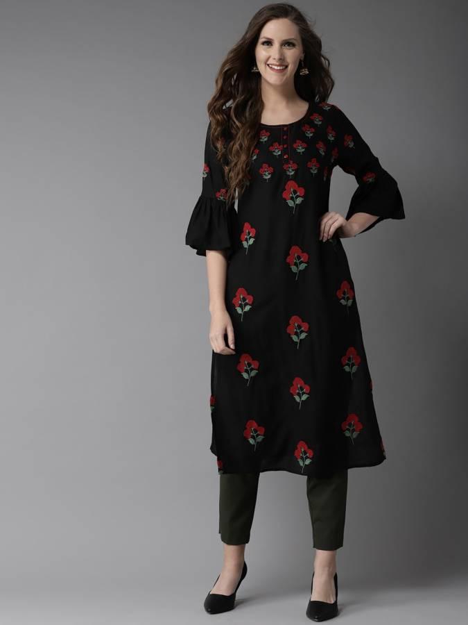 Women Floral Print Viscose Blend Straight Kurta