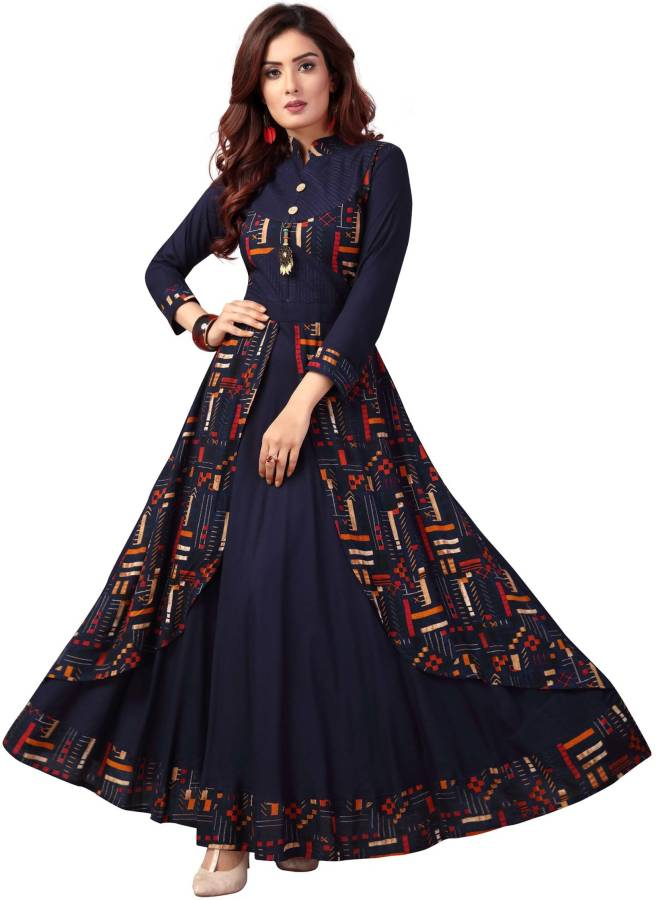 Women Printed Cotton Rayon Blend Ethnic Dress Price in India