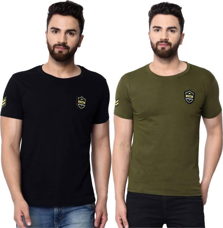 Solid Men Round Neck Black, Green T-Shirt