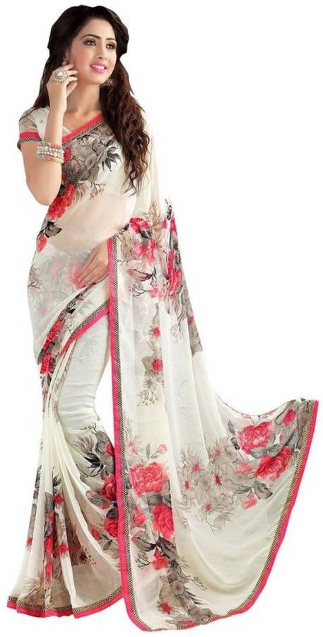 Printed, Self Design, Floral Print, Solid Daily Wear Poly Georgette Saree Price in India