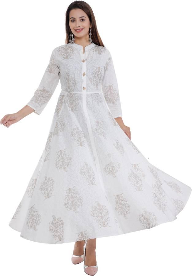 Women Printed Cotton Blend Flared Kurta Price in India