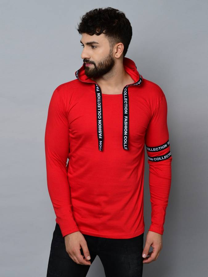 Typography Men Hooded Neck Red T-Shirt