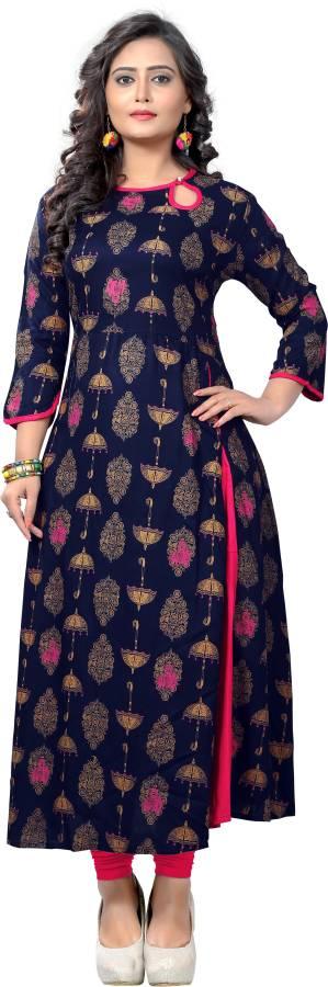 Women Printed Rayon Frontslit Kurta Price in India