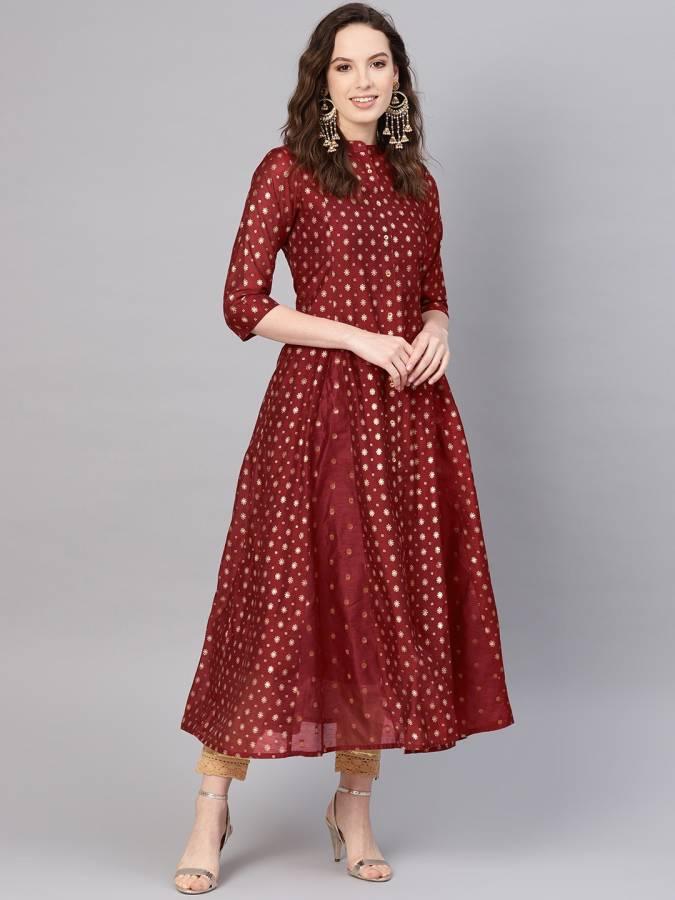 Women Printed Silk Blend Anarkali Kurta Price in India