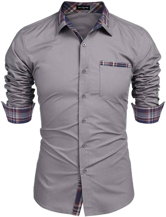 Men Regular Fit Solid Button Down Collar Casual Shirt Price in India