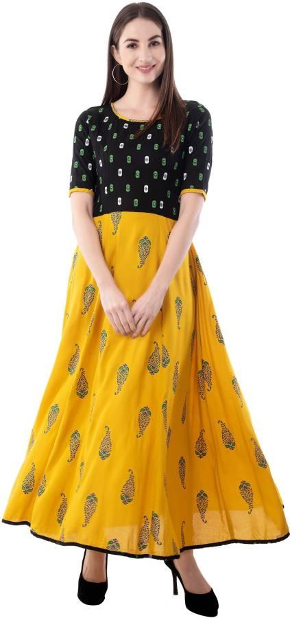 Women Printed Cotton Lycra Blend Anarkali Kurta Price in India