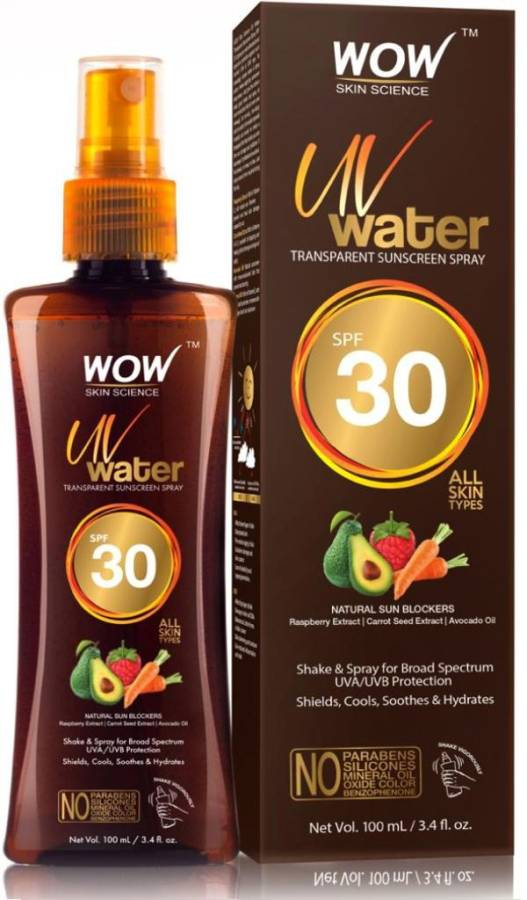 WOW Skin Science UV Water Transparent Sunscreen Spray SPF 30 - with Raspberry Extract, Carrot Seed Extract, Avocado Oil - No Parabensm Siliconesm Mineral Oil, Oxide, Color & Benzophenone - 100mL - SPF 30 Price in India