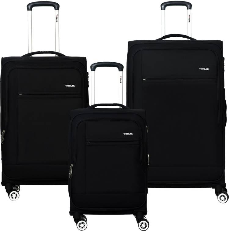 Small Check-in Luggage (46 cm) - Estonia Set Of 3 8 Wheels Strolley Suitcase For Travel Cabin and Check-in Trolley Bag (Black) - Black