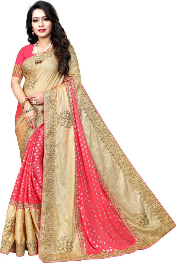 Embellished Fashion Jacquard, Art Silk Saree Price in India
