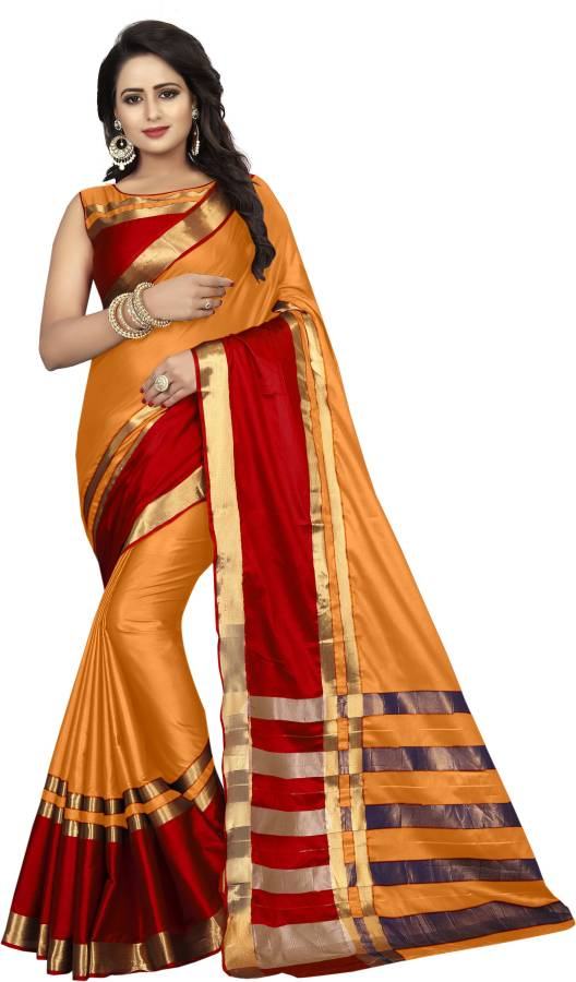 Striped Dharmavaram Cotton Silk Saree Price in India