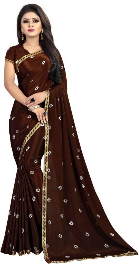 Embellished, Printed Bandhani Silk Blend, Poly Silk Saree Price in India