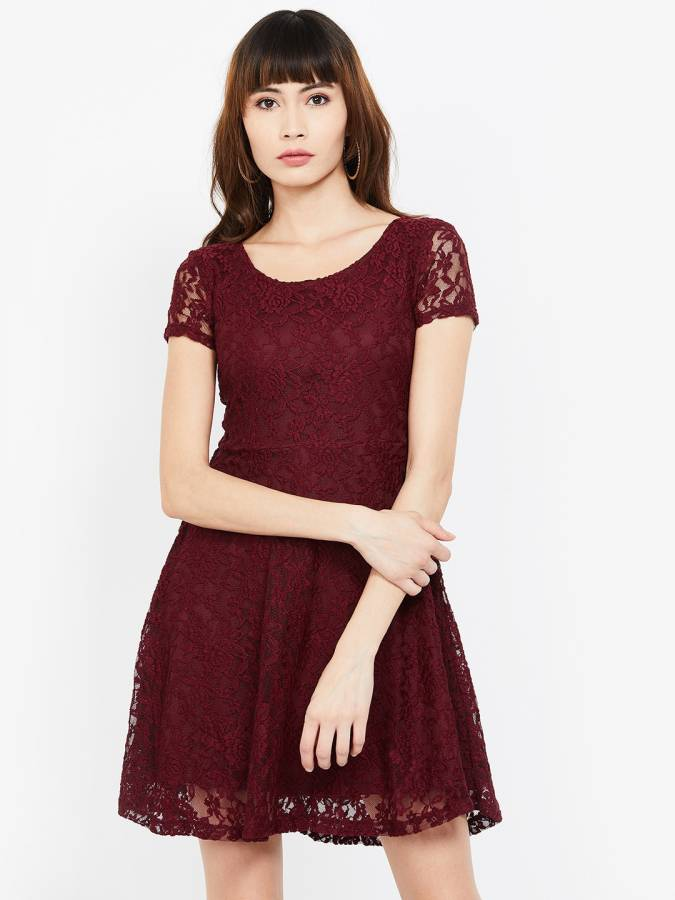 Women Fit and Flare Maroon Dress Price in India