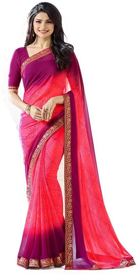 Printed Bandhani Georgette Saree Price in India