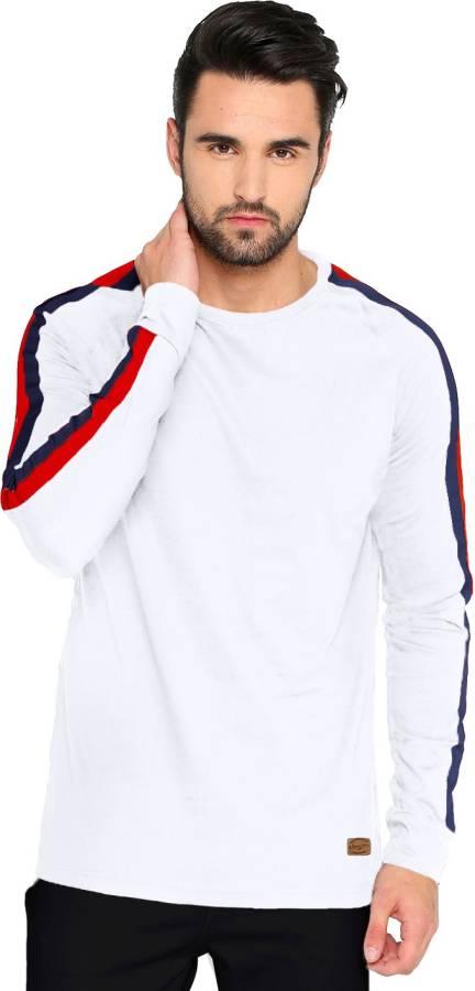 Striped Men Round Neck Red, White, Blue T-Shirt