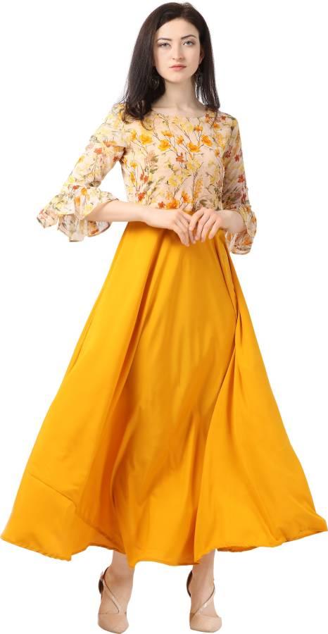 Women Maxi Yellow Dress Price in India