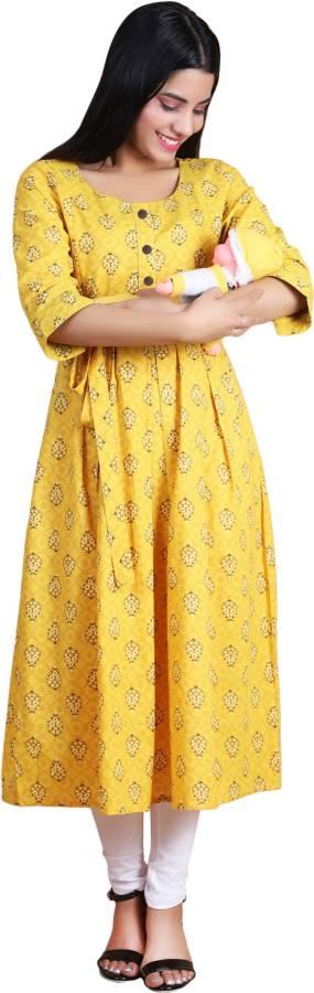 Women Floral Print Cotton Blend Anarkali Kurta Price in India