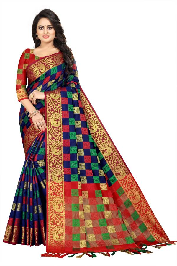Woven, Checkered Banarasi Jacquard, Cotton Silk Saree Price in India