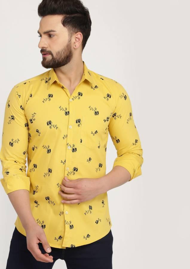 Men Floral Print Casual Spread Shirt